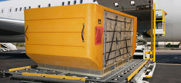 ULD Container being loaded, ULD Container, Air Cargo Container being Loaded, Air Freight Container being loaded, ULD Container going onto a plane